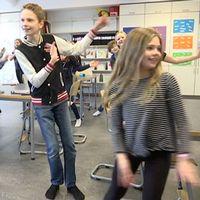 Danspaus för fjärdeklassarna på Husensjö skola