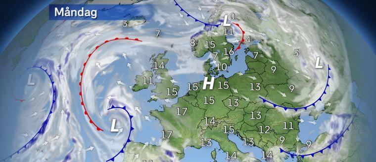 Måndag: Ingen egentlig temperaturskillnad mellan söder och norr.