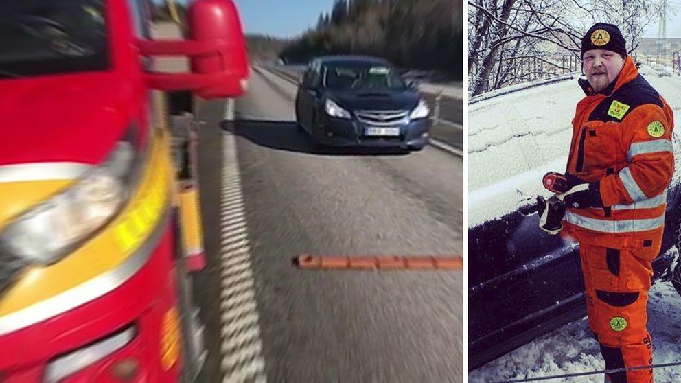 Rickard Kostaja Parviainen jobbar med bilbärgning, vid sidan om klipp på bilar som passerar.
