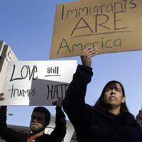 Demonstranter mot Trump.
