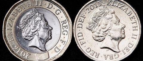 Det nya myntet till vänster och det gamla myntet till höger.