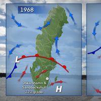 Till vänster: Luftmassornas läge 30 mars 1968. Till höger: Luftmassornas läge 27 mars 2017