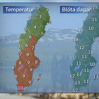 Till vänster: Dagstemperatur en normal aprildag i mitten av månaden. Till höger: Normalt antal dagar med nederbörd under april månad.