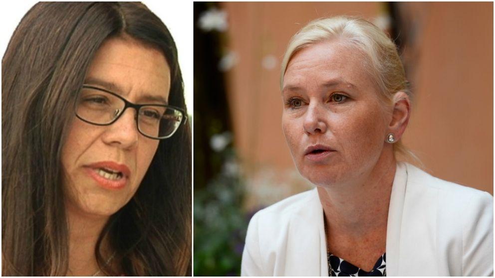 Helena Lindahl (C) och infrastrukturminister Anna Johansson (S)