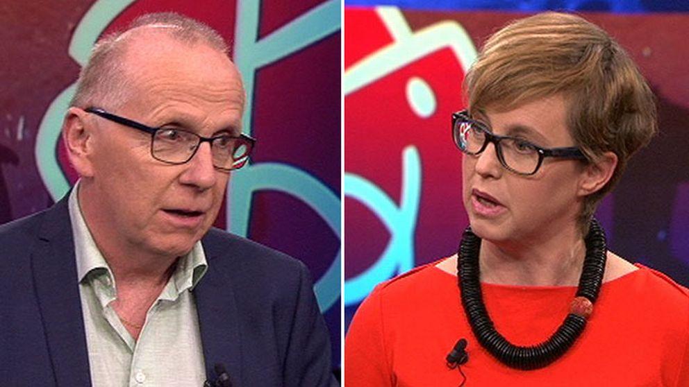 Widar Andersson (S), chefredaktör, folkbladet i debatt med Lisa Pelling (S) från tankesmedjan Arena idé