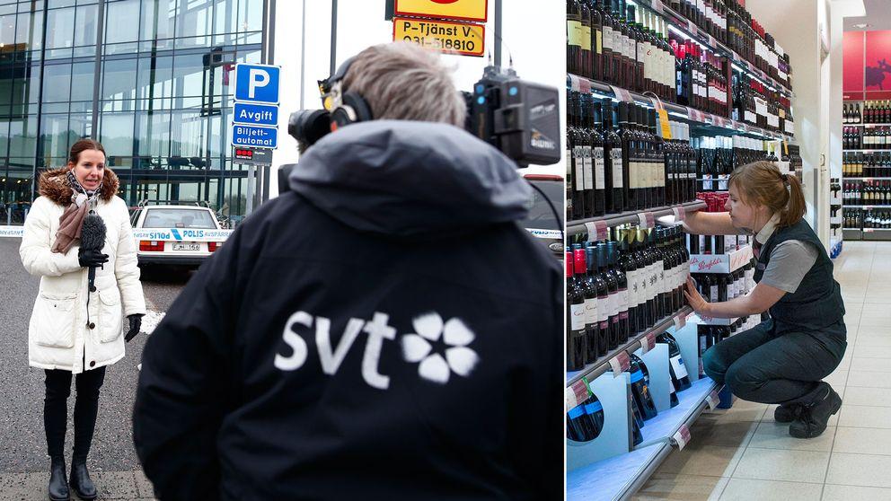 Reporter och fotograf på jobb och en kvinna som arbetar på Systembolaget