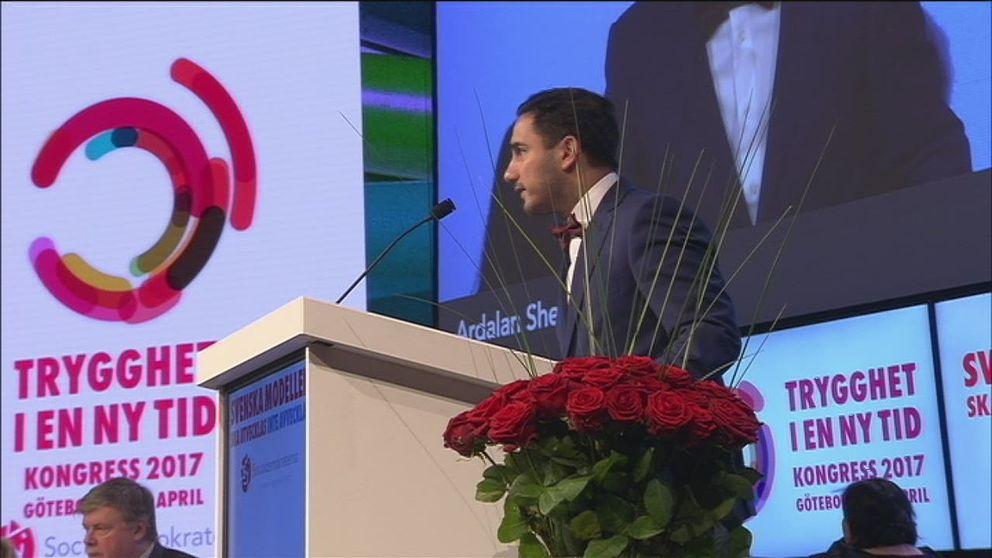 Civilminister Ardalan Shekarabi inledningstalar S-kongress tisdag.
