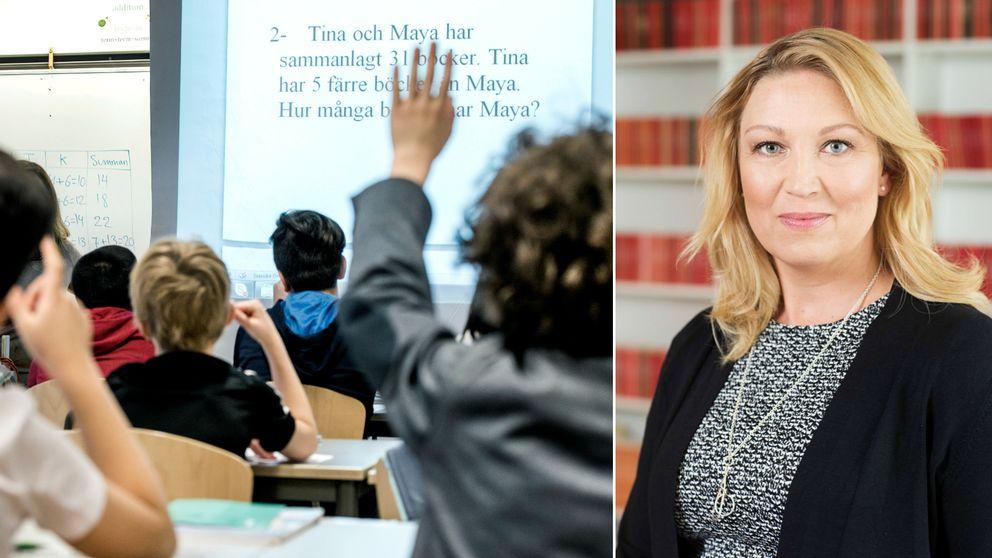 Delad bild, tv skolklass, elever räcker upp handen, th Johanna Jaara Åstrand