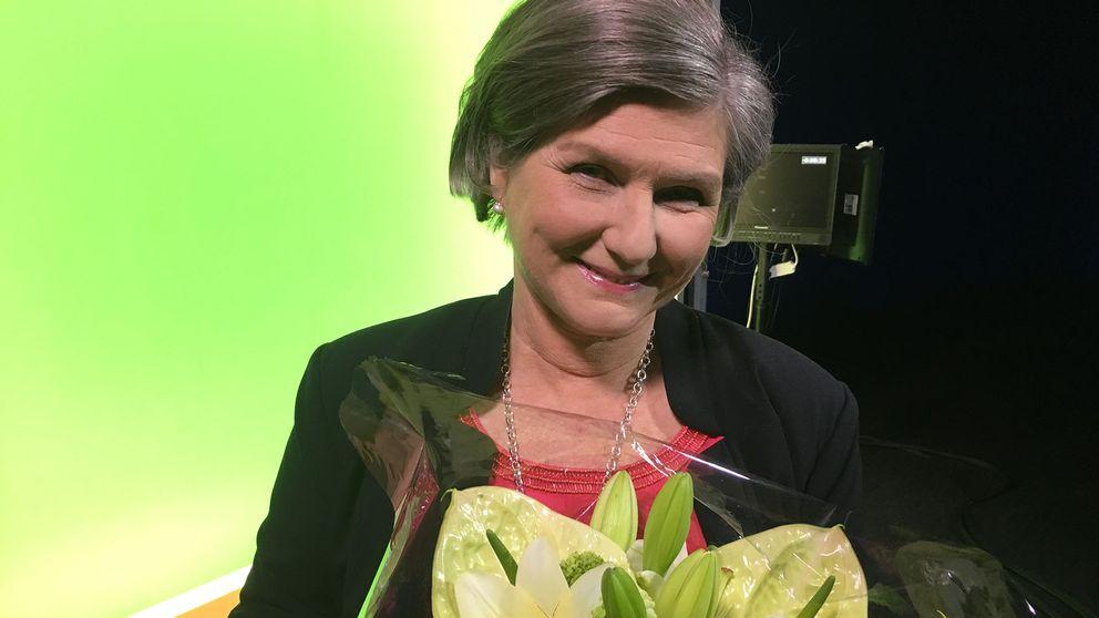 """Helen Tronstad, meteorolog på SVT: """"Det känns härligt att gå i pension"""", säger hon efter att ha blivit avtackad i direktsändning."""