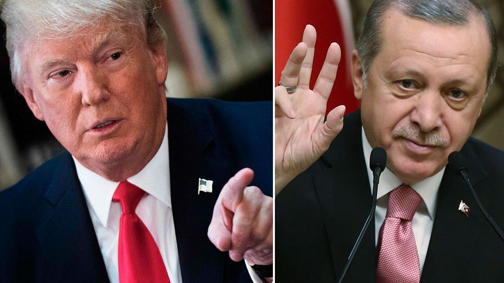 USA:s och Turkiets respektive presidenter Trump och Erdogan.