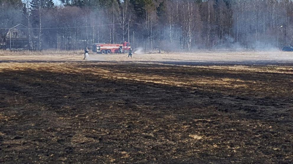 gräsbrand, asperå, åker, räddningstjänst, brandbil