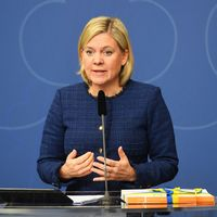Finansminister Magdalena Andersson (S) presenterar vårbudgeten