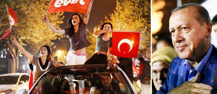 Ja-anhängare i folkomröstningen firade på Istanbuls gator efter segern som ger president Erdogan betydligt mycket mer makt.
