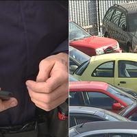 Polis, mobiltelefon, bilmålvakter, bilar