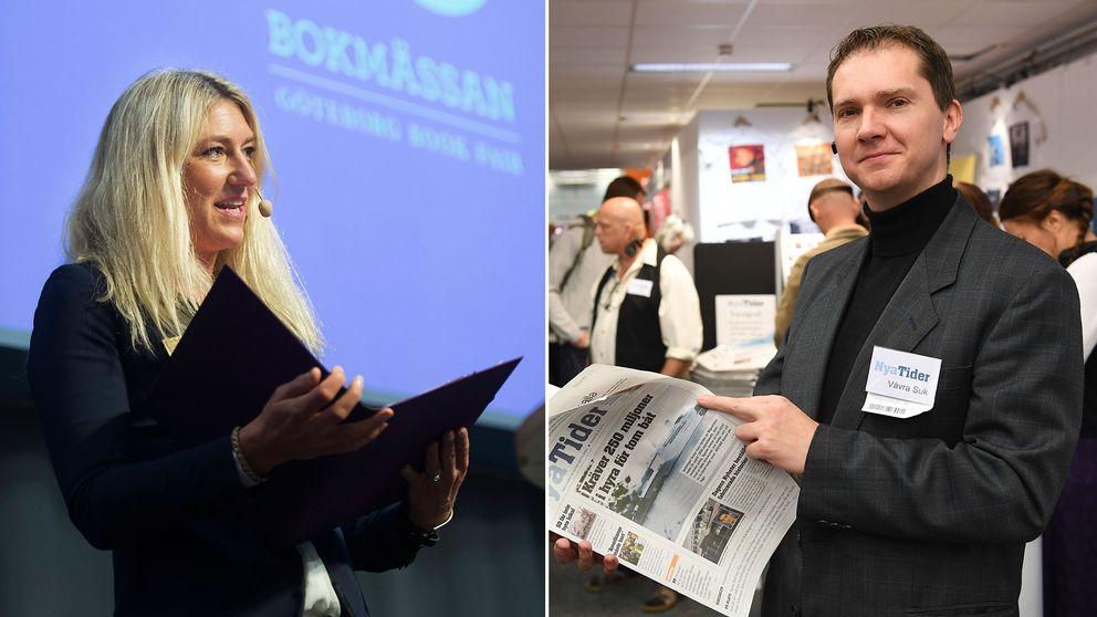 Bokmässans vd Maria Källsson och Nya Tiders chefredaktör Vavra Suk.