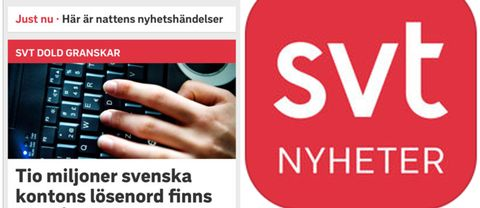 SVT Nyheters app.