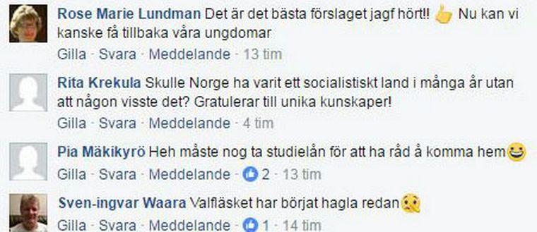 Skärmdump från svt norrbottens facebooksida ang centerförslaget att avskriva studieskulder i glesbygd