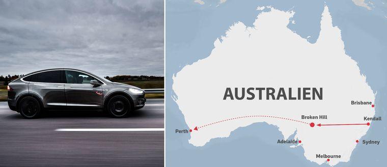 Tvådelad bild: En bil som kör på en väg och en karta på Australien som visar sträckan pojken körde