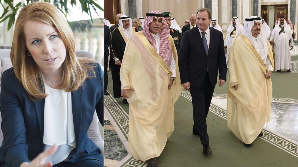 I söndags röstades Saudiarabien in i FN:s kvinnokomission. Centerpartiledaren Annie Lööf är kritisk till att regeringen inte berättar hur de röstade. På bilden syns statsminister Stefan Löfven (S) i sällskap med handelsminister al-Qassabi (t v) och Riyadhs guvernör Faisal bin Bandar Al Saud.