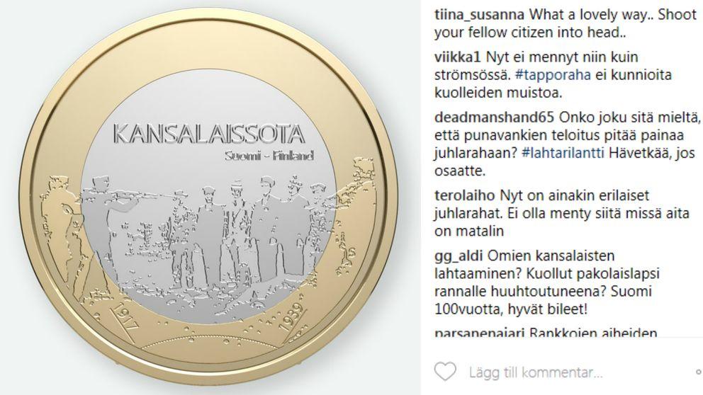 Finska myntverkets nya jubileumsmynt väcker kritik.
