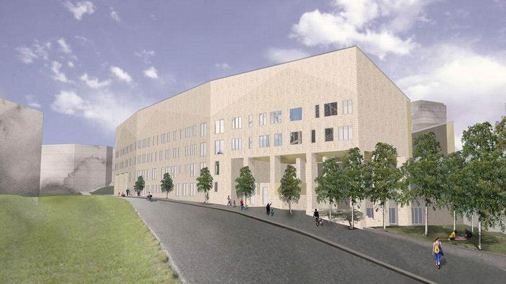Arkitektbild på nya Sjöviksskolan i Årstadal. Beige tegelfasad med bruten välvd utformning. Fyra våningar hög och ligger i backe.