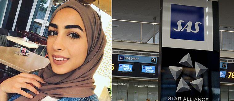 Aye Alhassani till vänster i bild klädd i brun slöja. Till Höger en bild av SAS incheckningsdisk.
