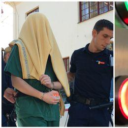 Två bilder. En man med filt över huvuet och närbild på rättssal