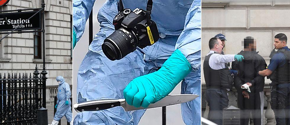 Mannen hade stora knivar på sig som hittades efter gripandet.