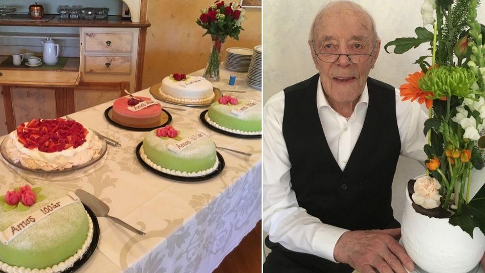 gratulationshälsningar 50 år Amos fyller 100 år – bjöd 100 gäster på tårta | SVT Nyheter gratulationshälsningar 50 år