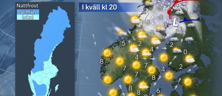 I kväll: Brasorna värmer. Snöandet drar vidare norrut under kvällen, vinden avtar alltmer och det klarnar upp. Så räkna med en allt kyligare kväll efterhand i det klara vädret, så värmen från brasorna kommer nog väl till pass. Till natten köldgrader i stora delar av Norrland, nordvästra Svealand och inre Götaland, och i övrigt risk för markfrost nästan överallt. Bara kustnära områden i Sydsverige kanske kan klara sig.