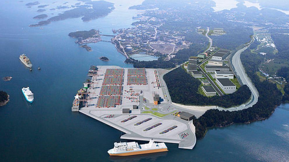 Illustration över Stockholm Norvik hamn