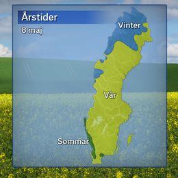Vårens ankomst, där gult betyder att våren anlänt (sju dygn på raken med dygnsmedeltemperatur över 0 grader), och blått betyder att det fortsatt råder meteorologisk vinter (dygnsmedeltemperatur under 0 grader). Det gröna området visar var det är sommar (fem dygn på raken med dygnsmedeltemperatur över 10 grader).