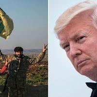 Den kurdiska milisen YPG och USA:s president Donald Trump i ett bildmontage.
