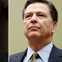 USA:s president Donald Trump till vänster och tidigare FBI-chefenJames Comey till höger.