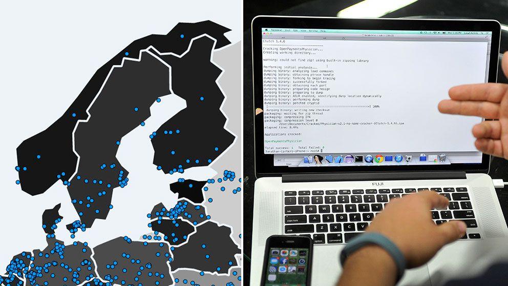 """Cyberattacken """"Wannacry"""" har påverkat omkring 40 platser i Sverige, främst i storstadsregionerna, enligt datasäkerhetsbloggen MalwareTech."""