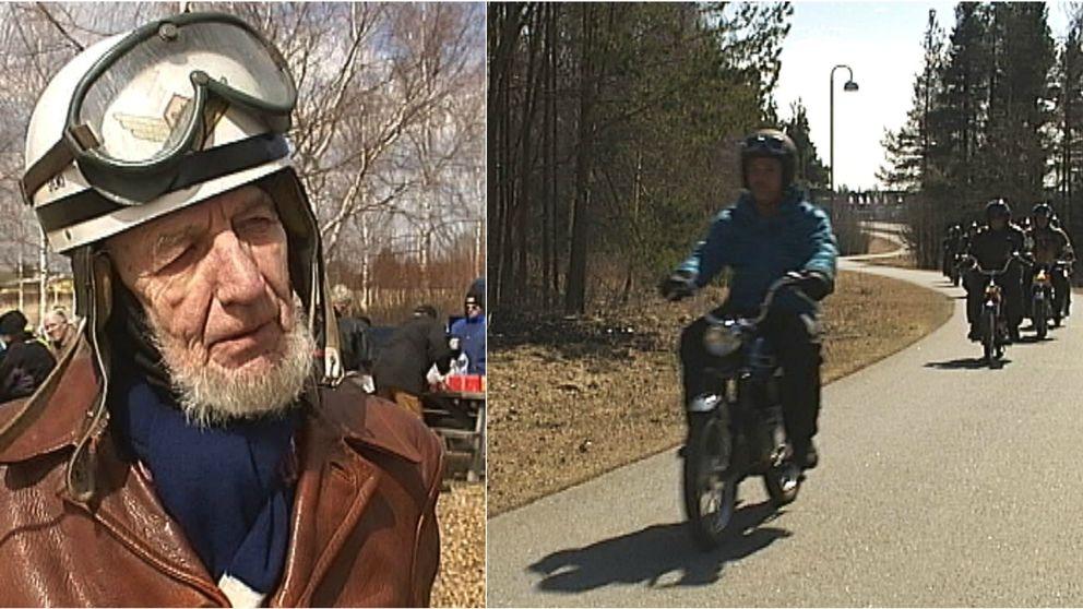 En äldre man till vänster och en gammal moped till höger i ett montage