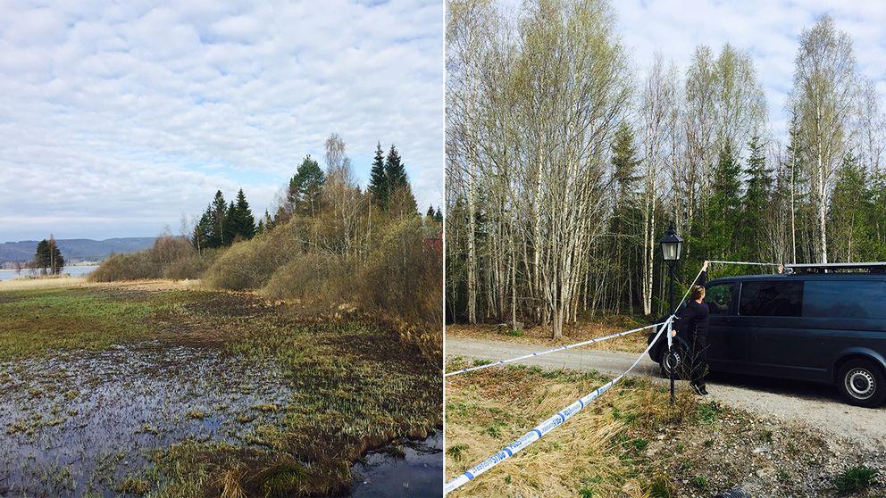 Området där kroppen hittades ligger vid en sjö. Vid halv nio på morgonen kom kriminaltekniker till platsen.