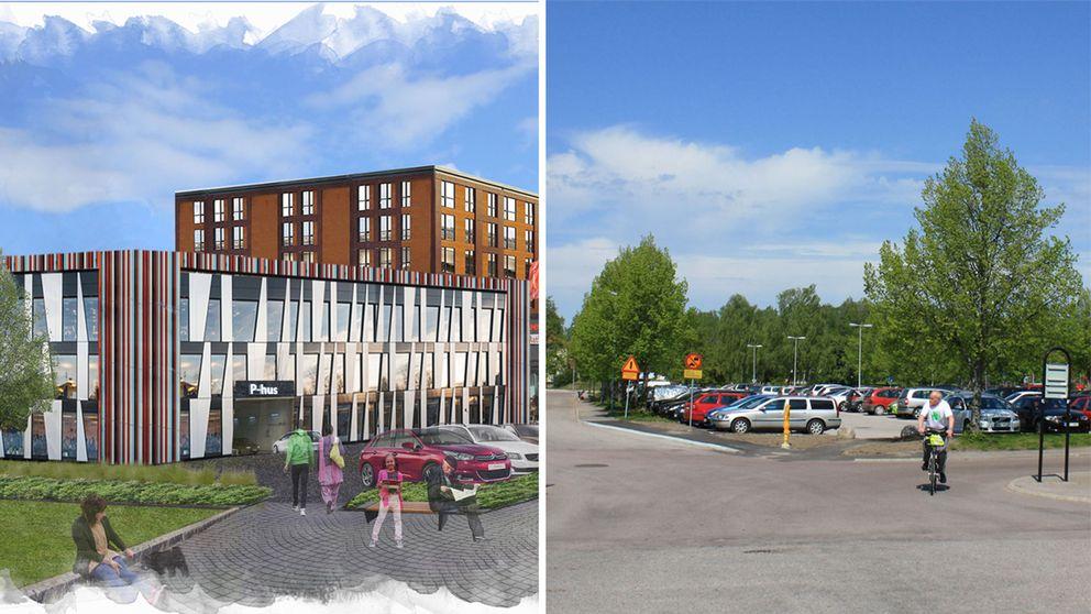 Fratmtidens parkeringshus i Hallstahammar enligt nya förslaget