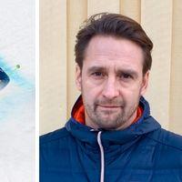 Anna Holmlund åker skidor längs backen. Till vänster syns läkaren, ser ledsen ut.