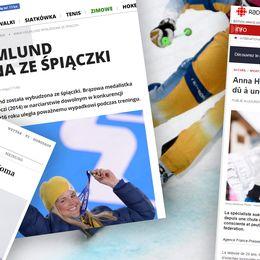 Skärmdumpar på olika utländska medier som uppmärksammar nyheten om Anna Holmlunds uppvaknande.