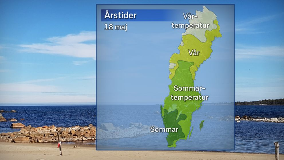 Årstidernas läge efter temperaturdygnet den 18 maj. Grönt betyder att sommaren anlänt (5 dygn över 10 grader), ljusgrönt betyder sommartemperatur i 1–4 dygn, gult betyder vår (7 dygn  över 0 grader) och vitt betyder vårtemperatur i 1–6 dygn.