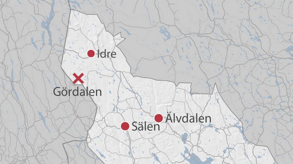 Karta som pekar ut Gördalen.