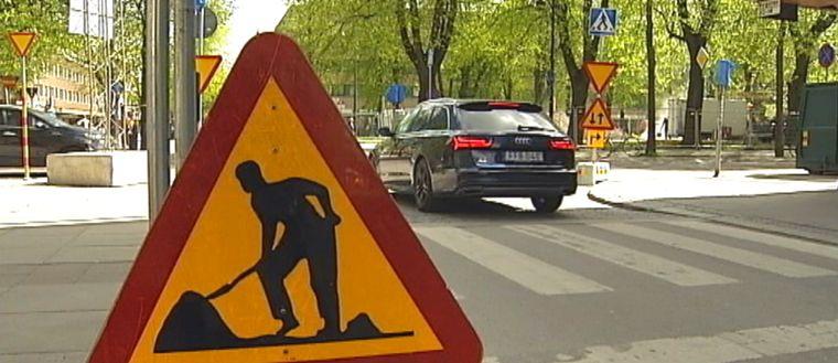vägskylt arbete pågår
