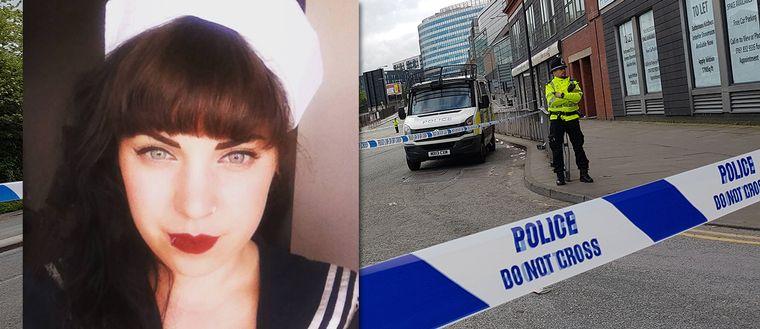 infälld bild på ung kvinna, polisavspärrning på gata