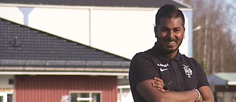 Afnan Khabiri tränare i fotbollsklubben Jokkmokks SK.