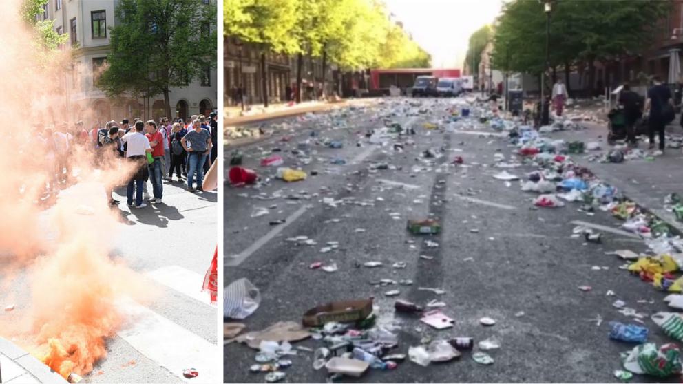 """När de holländska fansen """"laddat klart"""" och rört sig vidare mot Friends arena var det många boende i området som fick en chock när de gick ut på gatan i centrala Stockholm."""