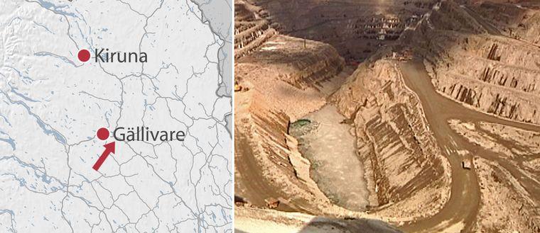 kartgrafik, vy över gruvans dagbrott