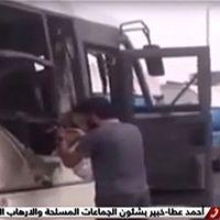 Bilder från egyptisk stats-tv visar en totalförstörd buss.