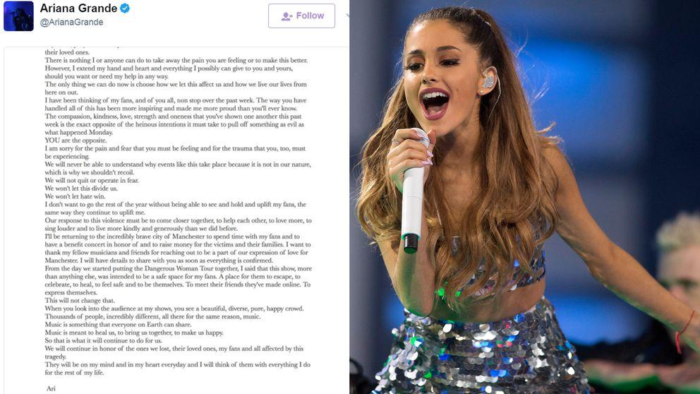 Ariana Grande gjorde ett offentligt uttalande på Twitter.