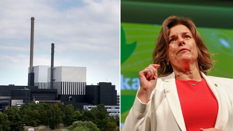 Oskarshamns kärnkraftverk och Isabella Lövin (MP).